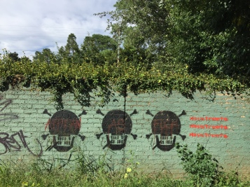 """African As Fuck"" is written in red, across the 3 skulls, on word per skull (just in case my picture is not clear enough). On the right side, 3 times ""wikistreets"". This is painted on one of the Greenside side Golf Club wall. yeah."