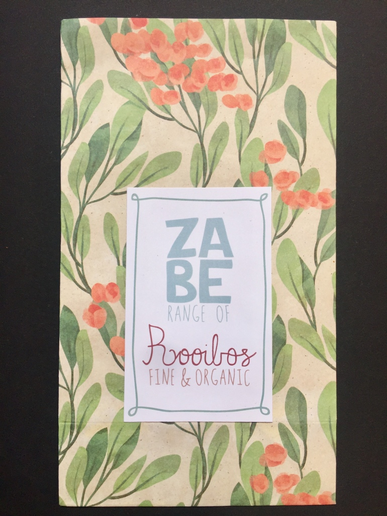 ZABE's new packaging - Rooibos finest organic herbal tea.